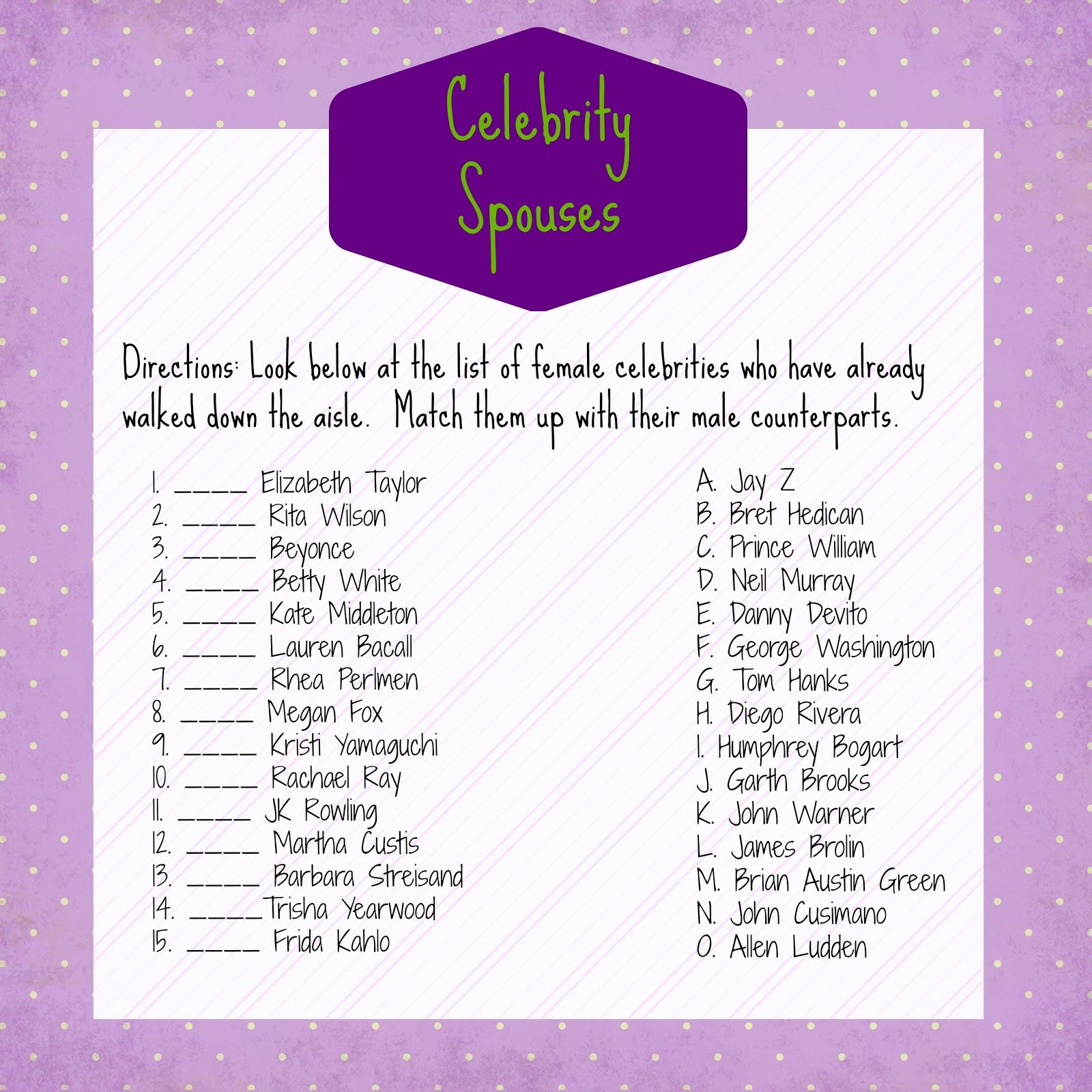Photo : Bridal Shower Games Printable Image