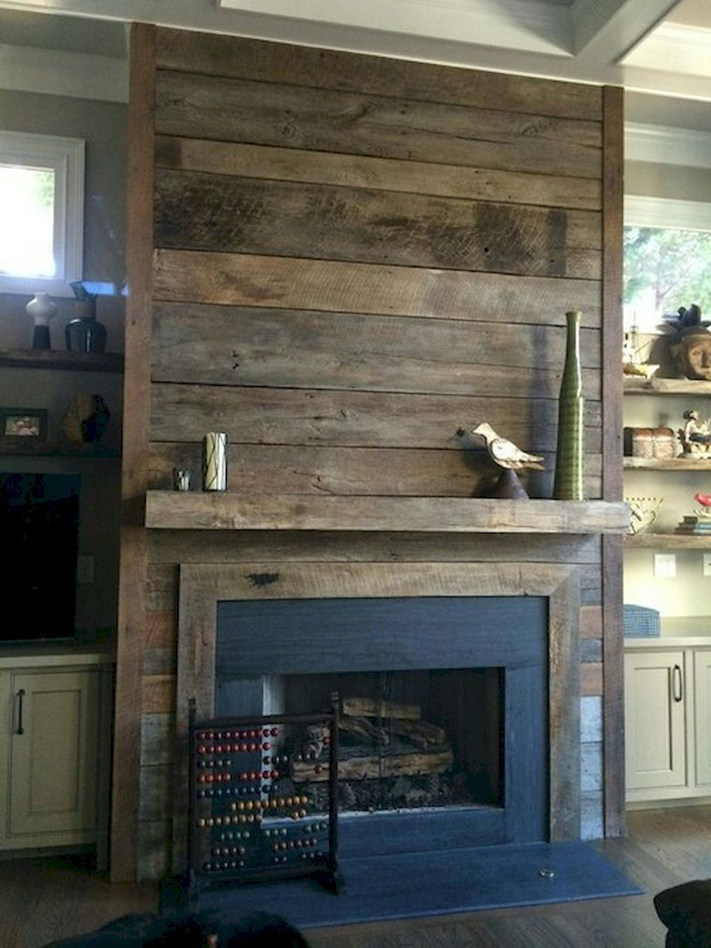 80 Incridible Rustic Farmhouse Fireplace Ideas Makeover 21