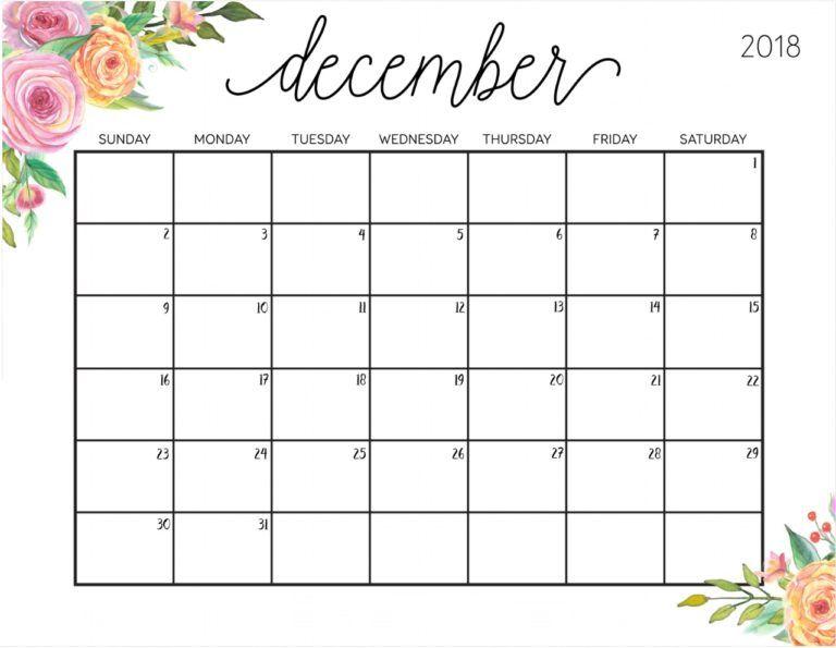 december 2018 planning calendar template