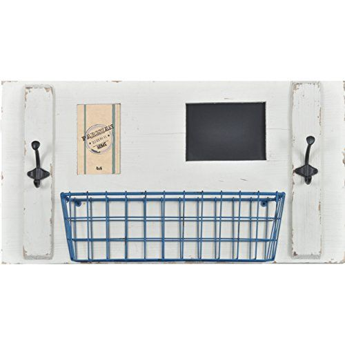 Wall Organizer With Picture Frame Chalkboard Metal Basket Coat