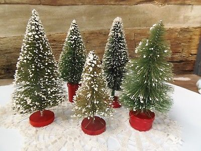Antique Bottle Brush Christmas Trees Red Wood bases Dollhouse Trains