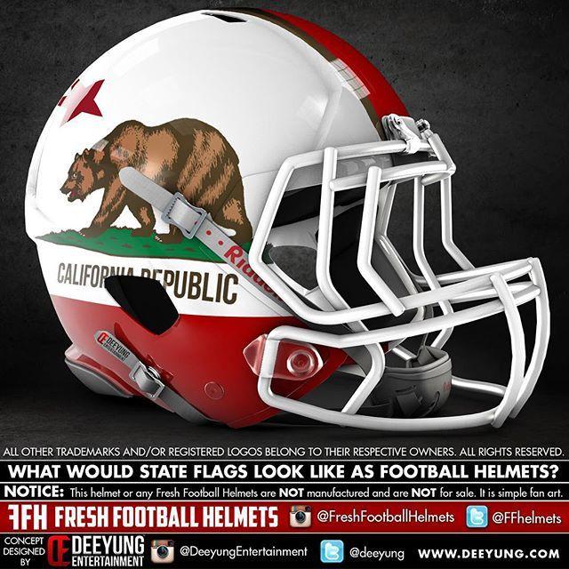 California S State Flag As A Football Helmet Design Concept By Deeyung Entertainment Football Helmets Football Helmet