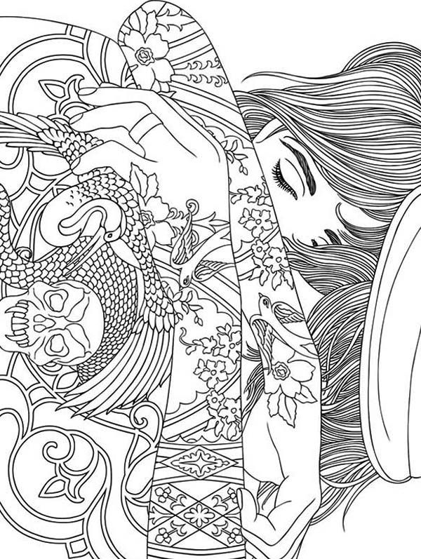trippy coloring pages girl with tattoo - Trippy Coloring Books