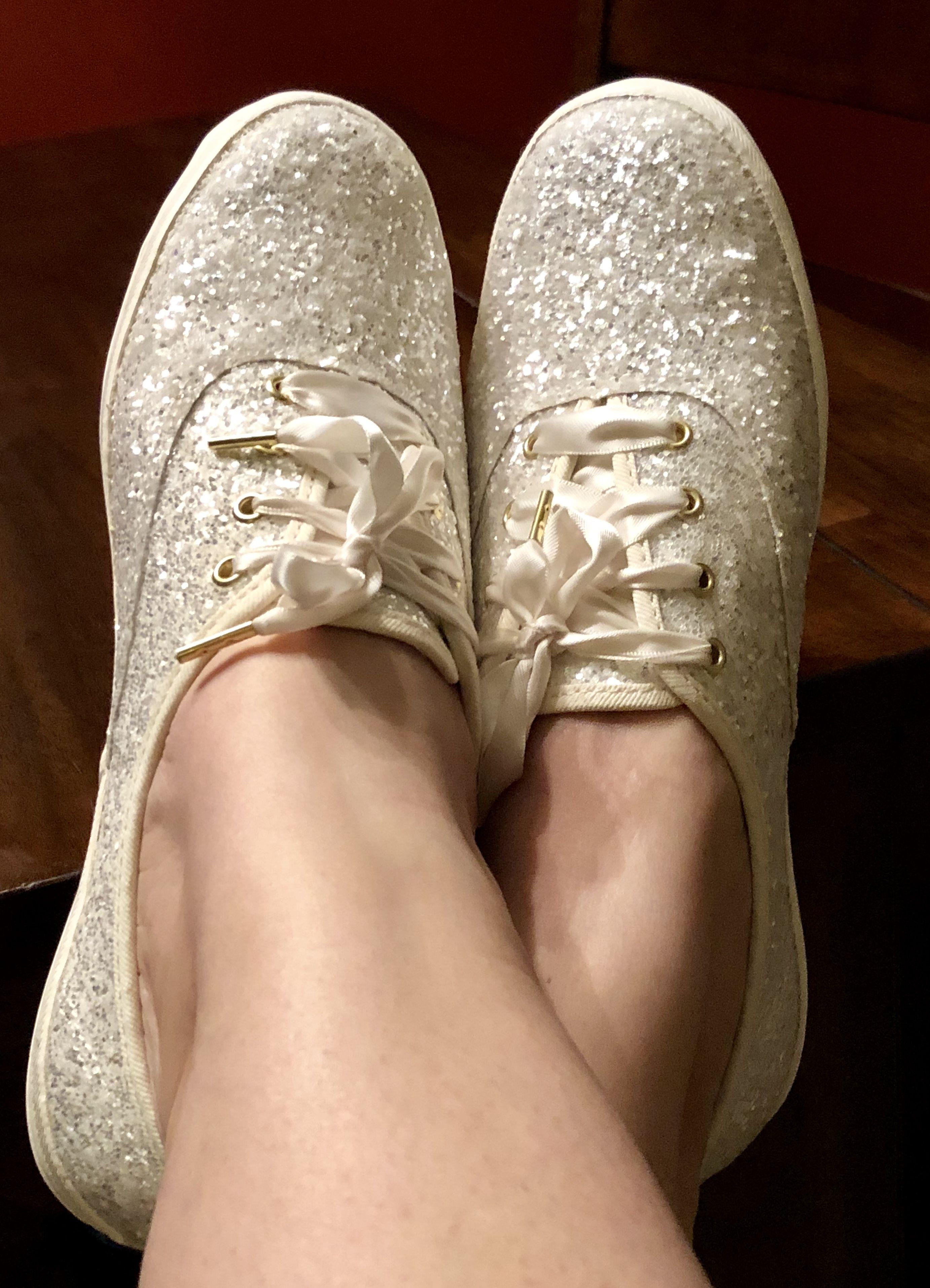4c2a694e901a2 Kate Spade cream glitter Keds #wedding #shoes #katespade   Here ...