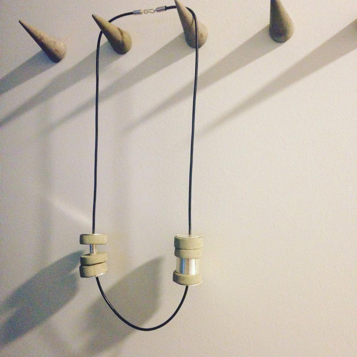 Concrete Love Concrete Silver Necklace Handmade Jewelry Design