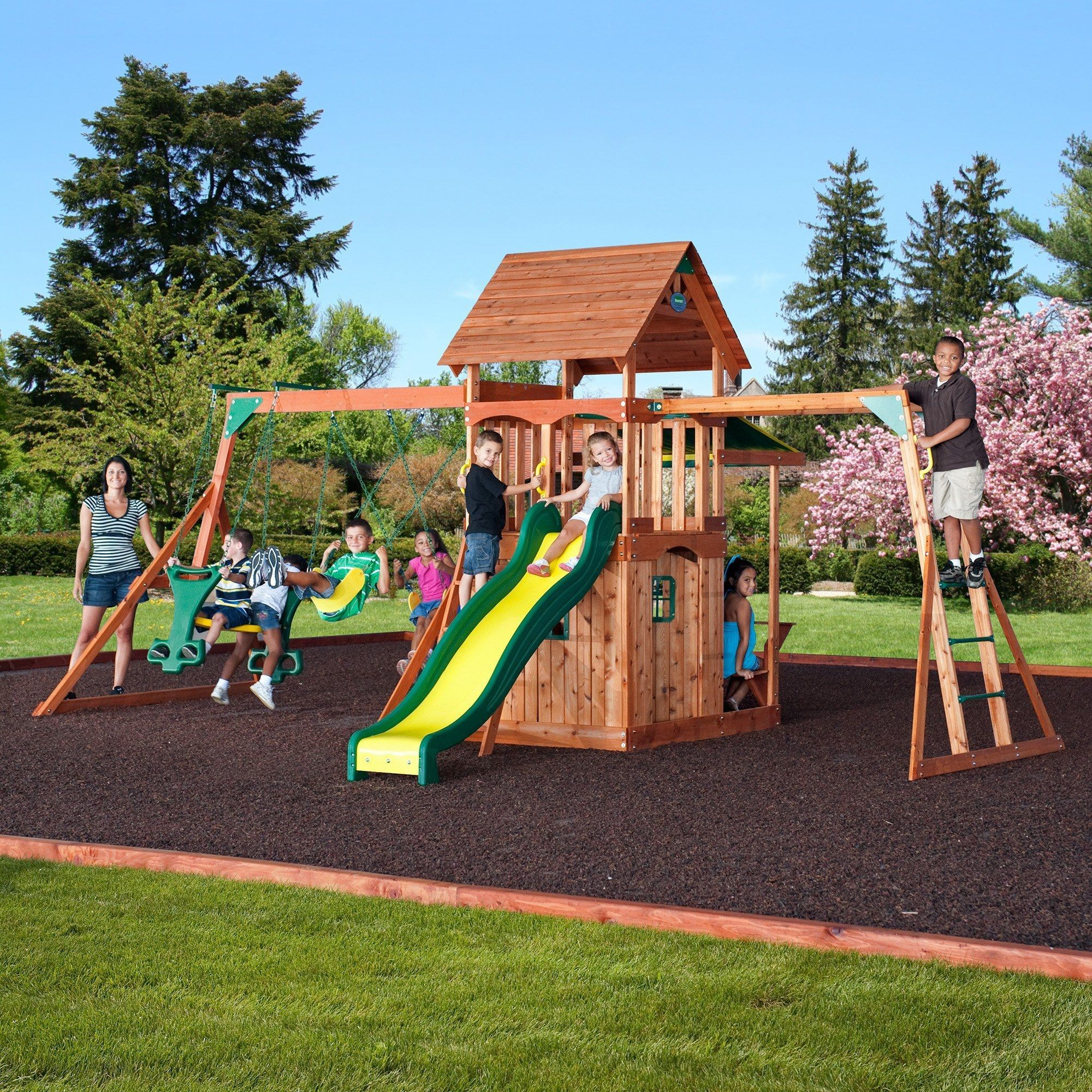 saratoga wooden swing set products pinterest wooden swings