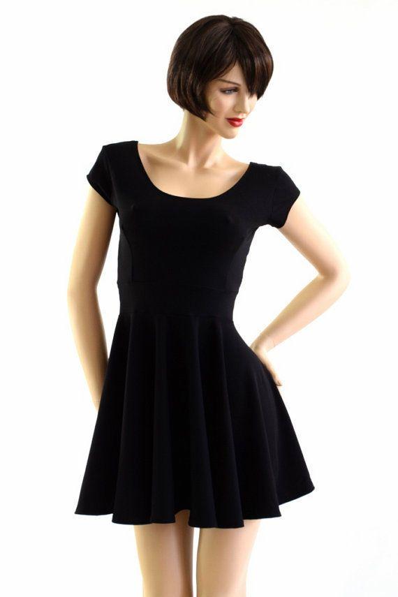 3f664b9904a Black Zen Soft Knit Scoop Neck Cap Sleeve Stretchy Skater Dress Made To  Order!