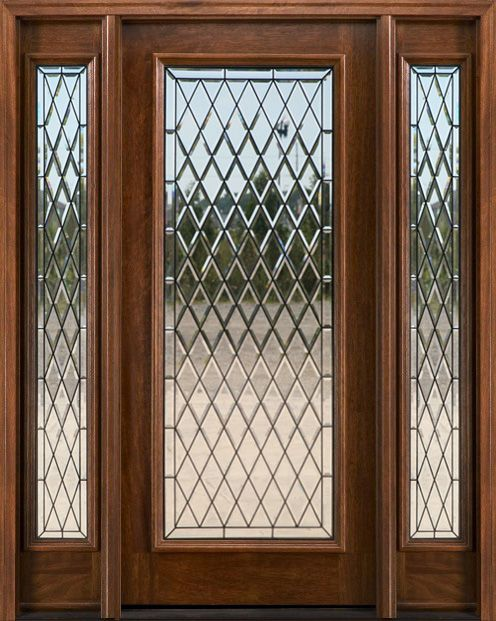 Exterior doors with sidelights solid mahogany entry for Solid glass exterior door