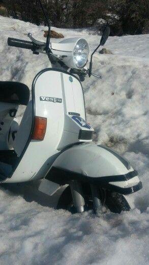 Vespa in the snow