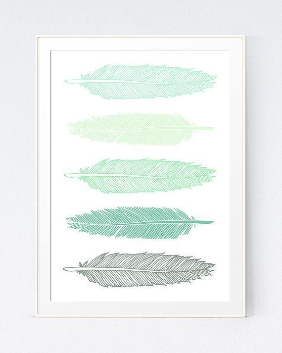 Feathers Print Mint Green Feathers Wall Art Print Modern