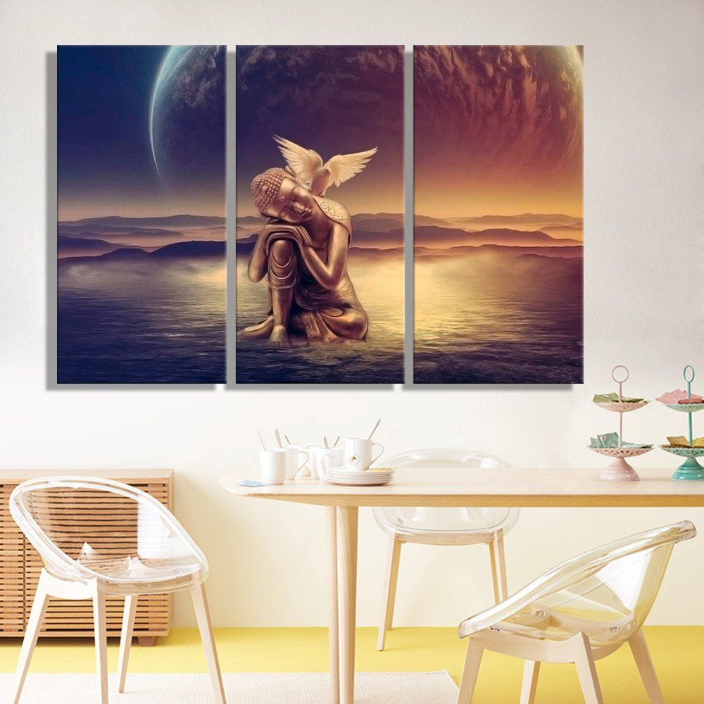 Paintings For Living Room Wall Oil Painting Canvas Buddha On Water Wall Art Decoration Painting