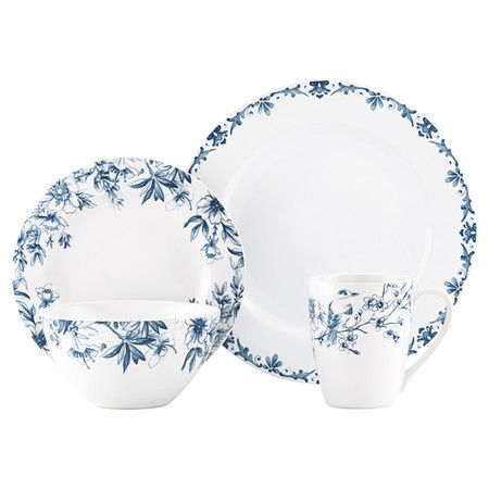 Adorned With A Toile Inspired Floral Motif This Stoneware Dinnerware Set Brings Timeless Elegance To Your Contemporary Dinnerware Sets Contemporary Dinnerware