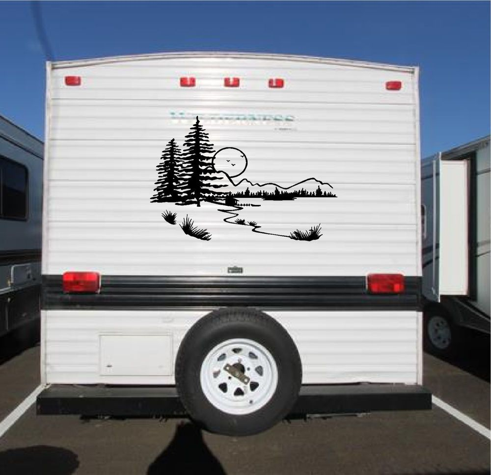 lake landscape camper rv vinyl decal sticker 22x34 camper