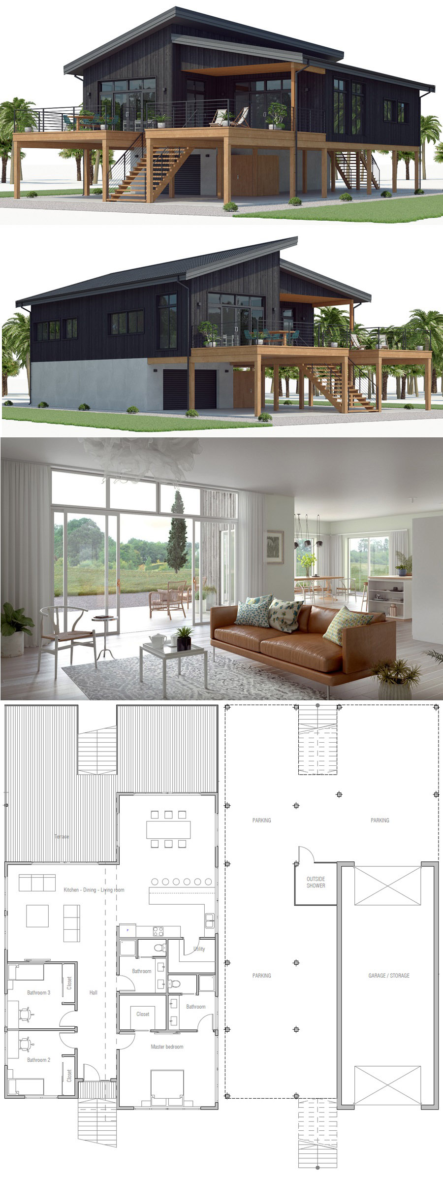 House Plan CH539 #beachhouse