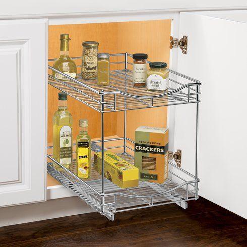 Lynk Professional 2 Tier 14 X 21 Sliding Under Cabinet Pull Out Drawer Cabinet Organization Cabinets Organization Sliding Shelves