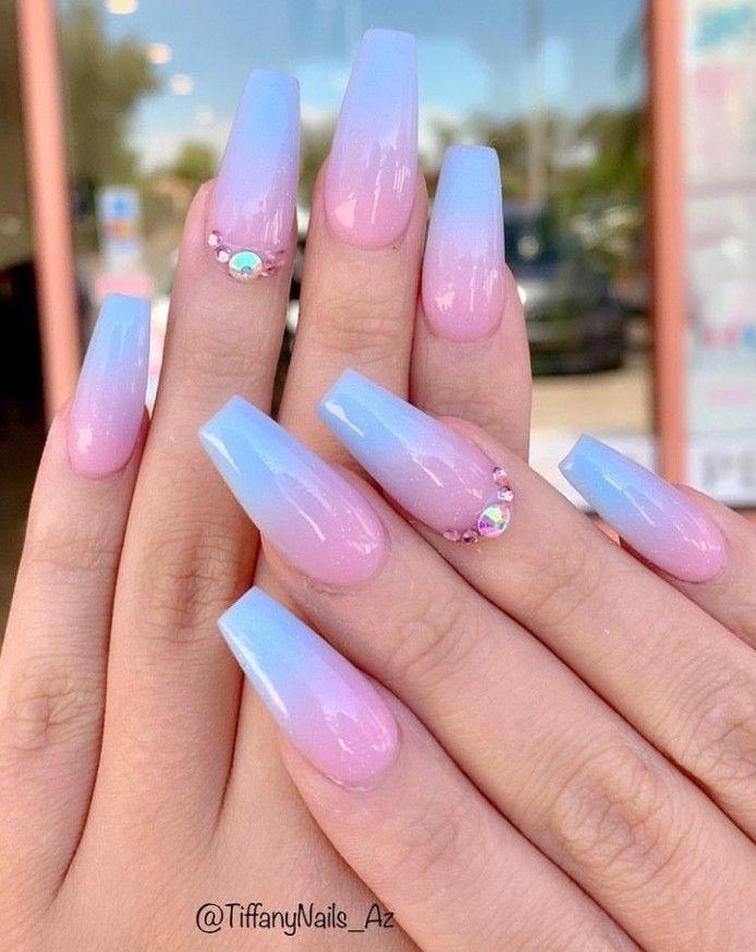 Ballerina Nails Ombre Nails Pink And Blue Nails Nails With Rhinestones Spring Nails Baby Shower Blue Ombre Nails Ballerina Nails Designs Pink Ombre Nails