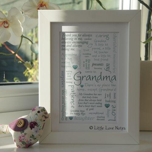 Personalised 'Grandma' Framed Typographic Word Art Print | Gifts For Grannies | Nanna | Nan