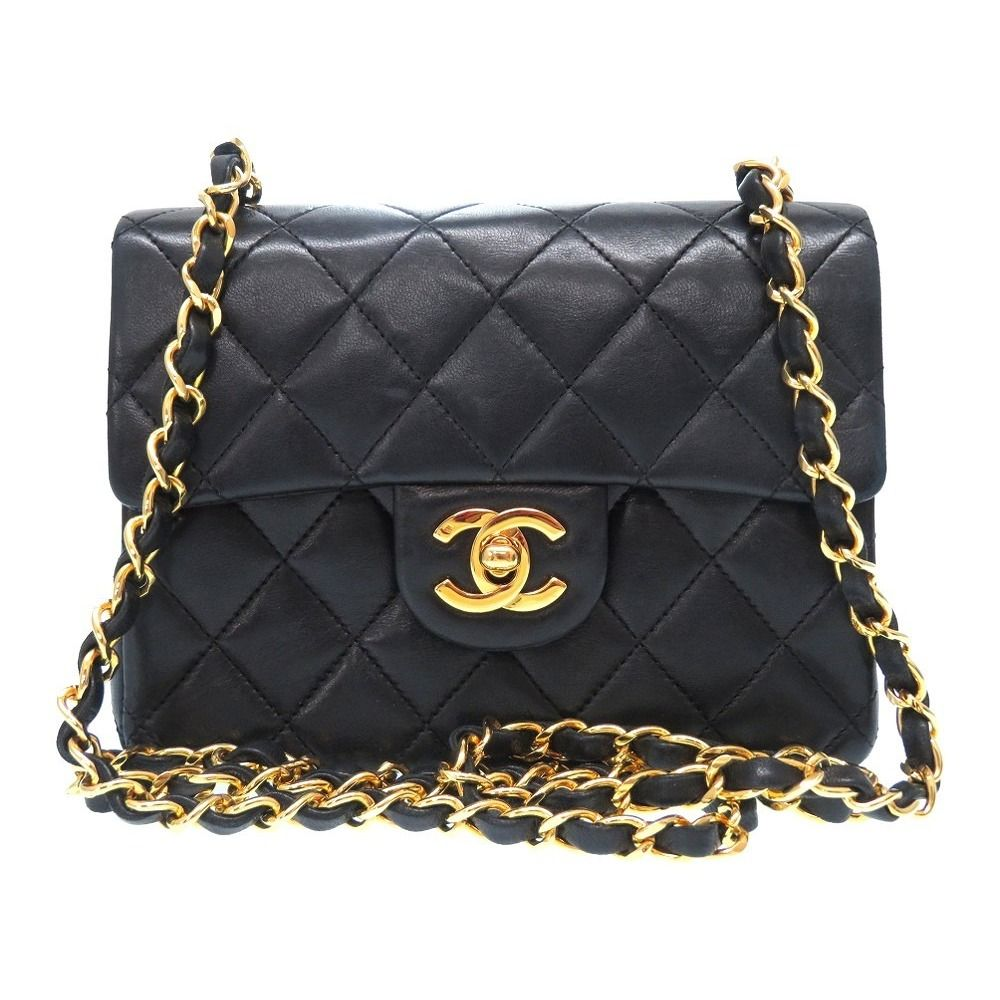 Chanel Matelasse Coco Mark Lambskin Black Turn Lock Gold Chain Shoulder Bag  0363 b3dc4c266a