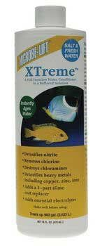 $34.94-$67.65 2PK Xtreme 16oz Salt/fresh Water (Catalog Category: Aquarium / Fresh Water Conditioners) - Xtreme 16oz Salt/fresh Water.  Ecological Laboratories - XTreme 16 oz Saltwater Freshwater Reef SafeFish Care Products. Treats up to 960 gallons. A full-function, buffered, water conditioner for ponds and aquariums. Detoxifies Nitrite. Destroys and removes chloramines. Removes ammonia. Removes ...