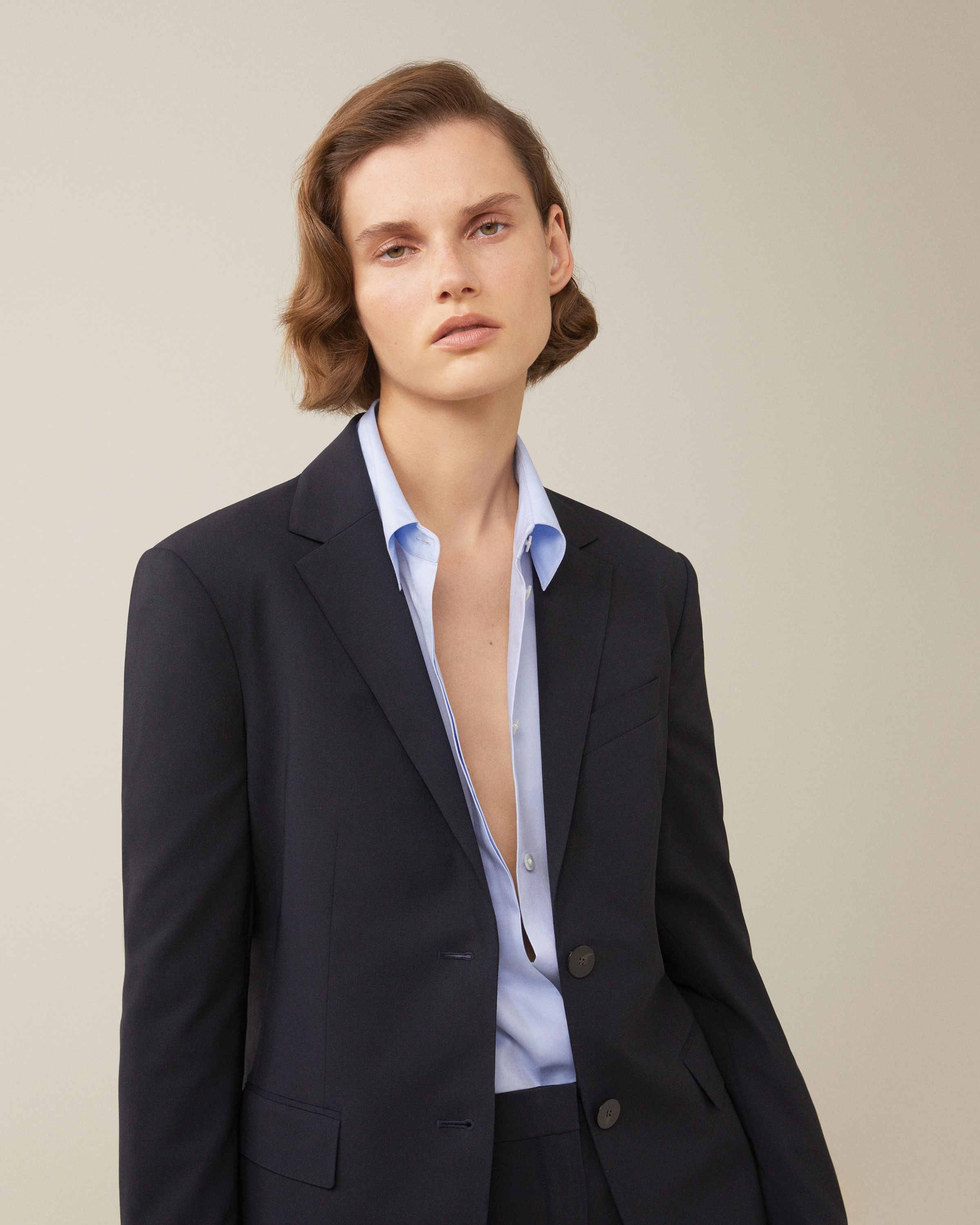 b7290e75ea Straight Double-Breasted Jacket in 2019 | Spring 2019 | Theory ...