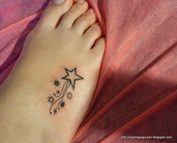 Star tattoo designs for girls on foot for Good girl tattoos