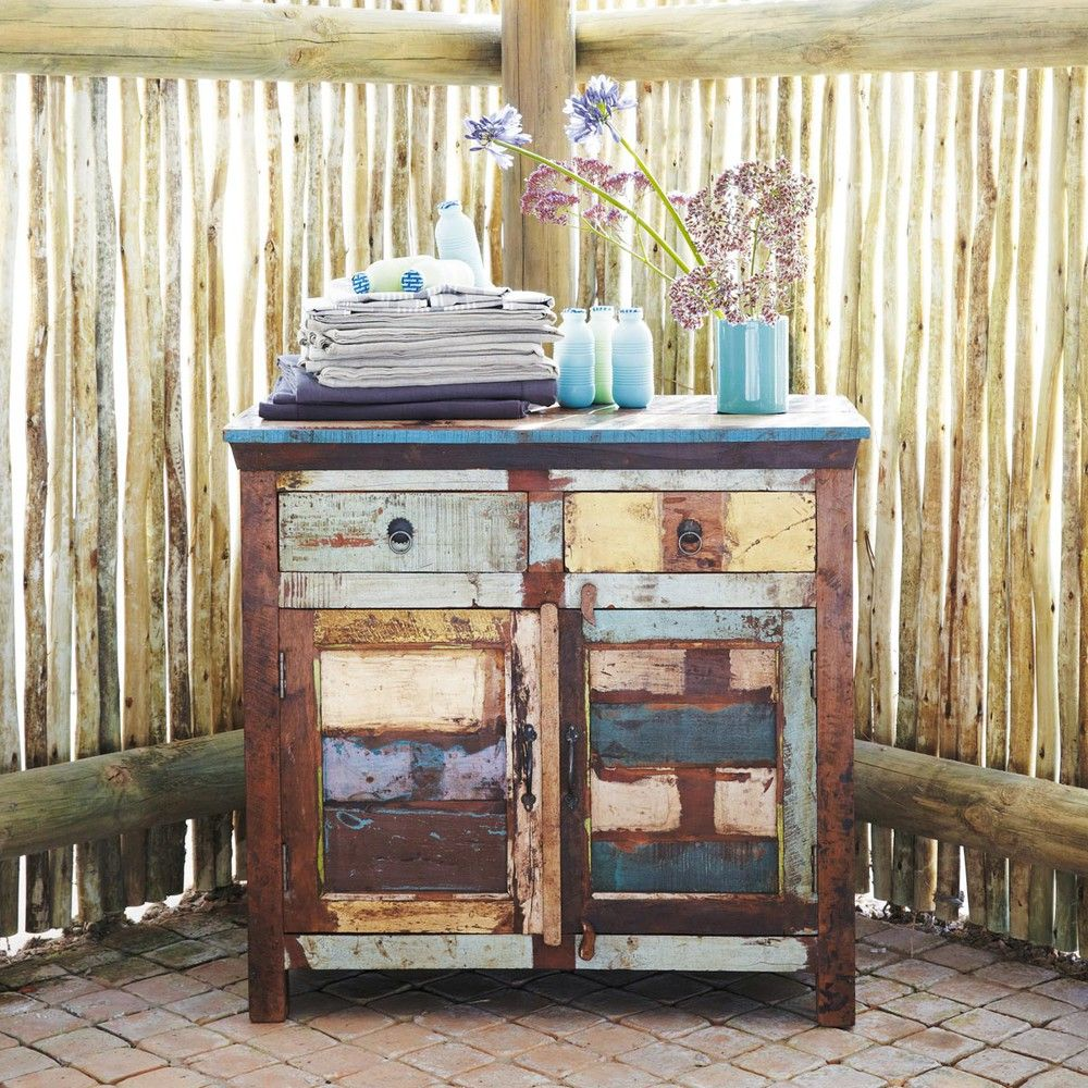 Recycled Wood Sideboard Multicoloured W 90cm Maisons Du Monde