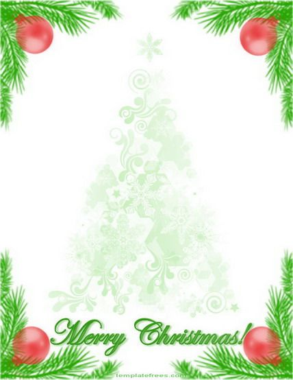 Free Christmas Border Template Image With Tree Branch Decoration  Microsoft Word Christmas Letter Template
