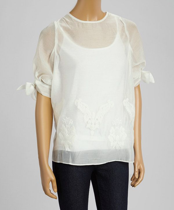 Look at this Sweet Sinammon Off-White Sheer Embroidered Damask Crewneck Top on #zulily today!