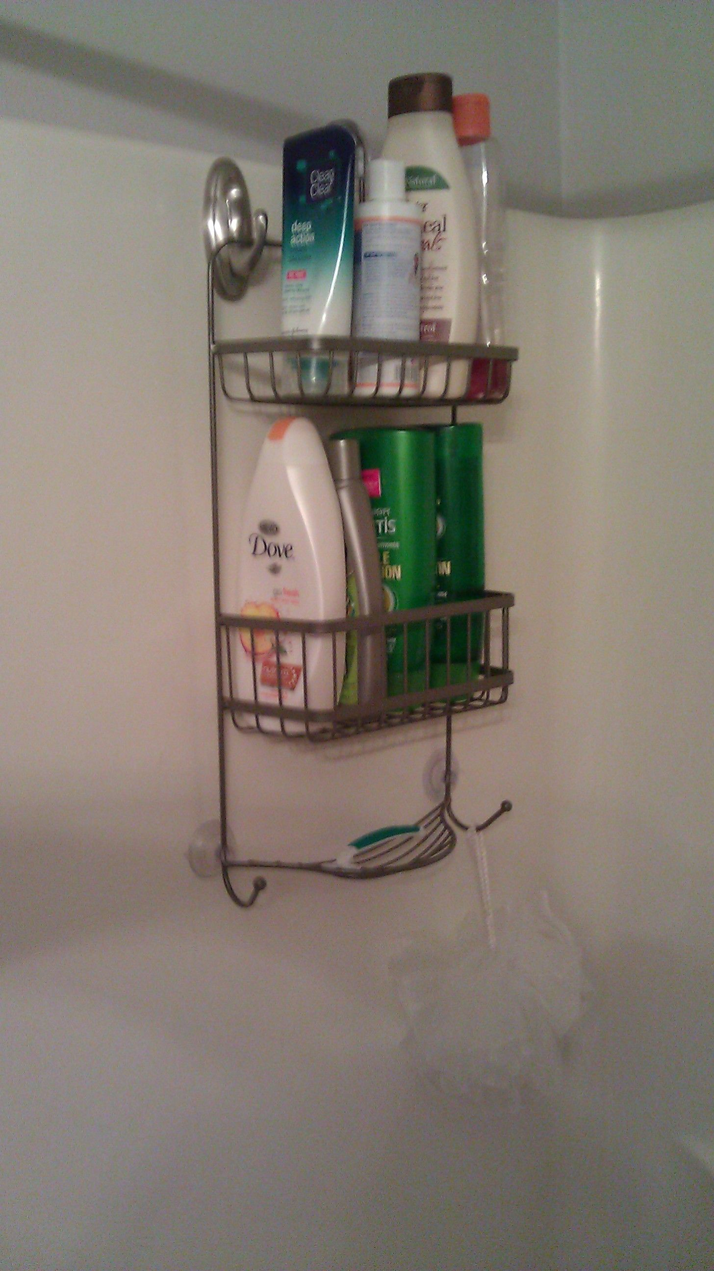 Use Command Hooks To Hang A Shower Caddy On The Far End Of The