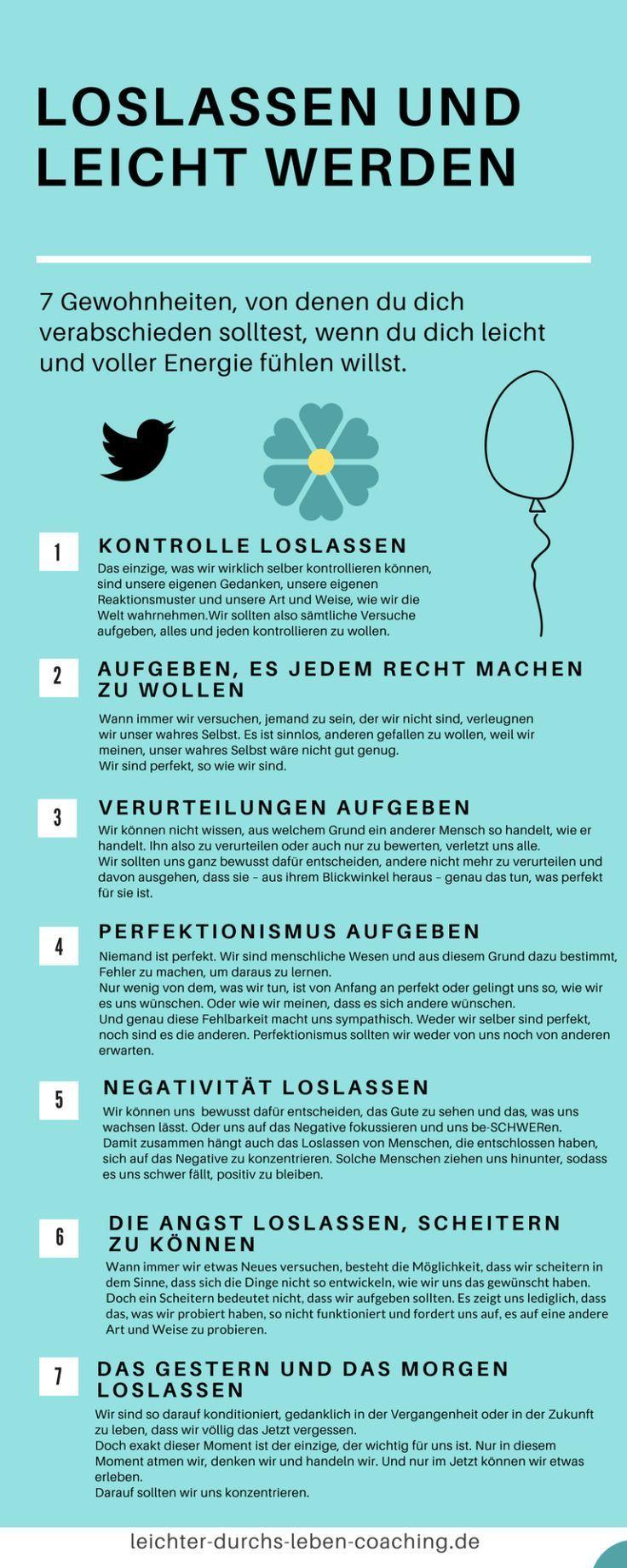 Gewohnheiten aufgeben - Loslassen und leicht werden - So gelingt es dir - Alte Gewohnheiten belasten unser Leben, ändere sie - Infografik: Von diesen 7 Gewohnheiten solltest du dich verabschieden #beautifularchitecture