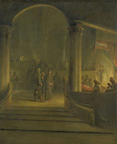 Aert de Gelder (1645–1727)  In het interieur van een tempel of paleis staat Christus tussen twee bewakers voor de hogepriester die rechts onder een troonhemel staat. Behoort samen met SK-A-2359 tot een reeks van passievoorstellingen waarvan de andere delen zich bevinden in Aschaffenburg. tussen 1700 en 1727 Rijksmuseum Amsterdam