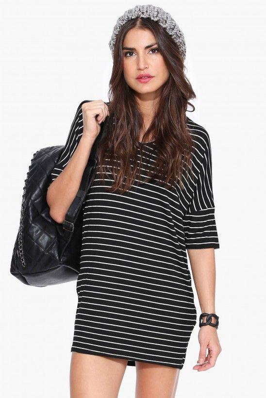 Cheers Tee Shirt Dress in Black | Necessary Clothing