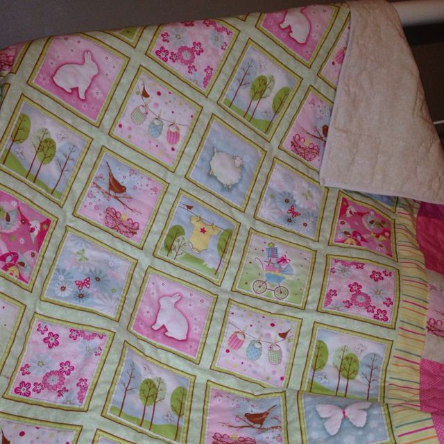 Baby girl quilt, fabric from Flying Goose Quilt Shop inNew London ... : flying goose quilt shop - Adamdwight.com