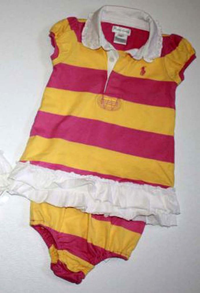 d458b5ff8 NWT Ralph Lauren Baby Girls Multicolor Rugby Striped Dress   Panty ...