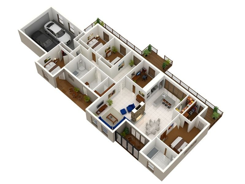50 four 4 bedroom apartment house plans bedroom - Architectural plan of two bedroom flat with dining room ...