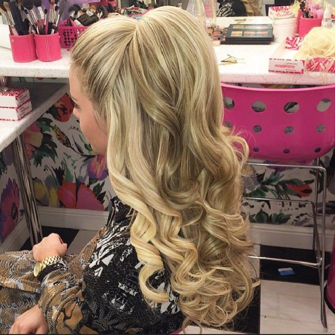 Half Up A Pony And Half Down Hairstyle With Weave