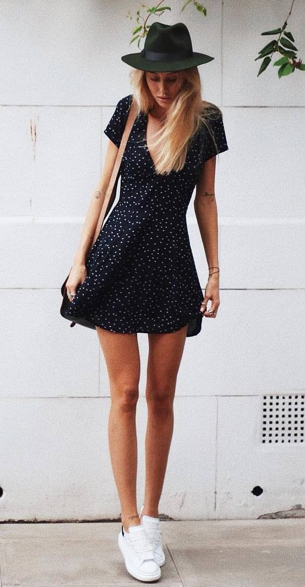 what to wear with a little black dress : bag hat white ...