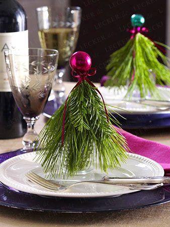 Weihnachtliche Tischdeko - Bastelideen für die Festtafel| LECKER #ribbononchristmastreeideas