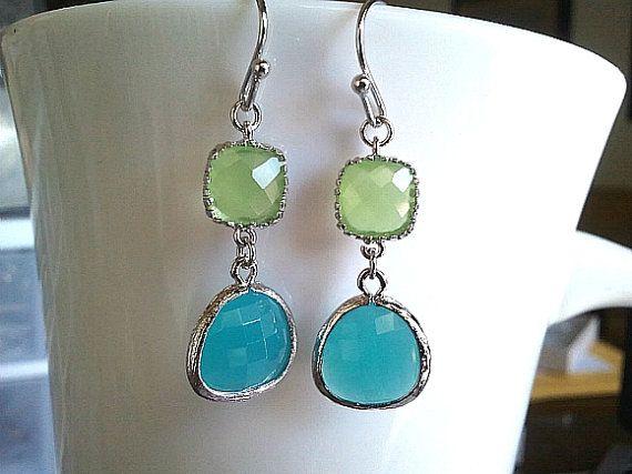 Mint and Silver Drop Earrings Chandelier Earrings Mothers Day Gift Mint and Silver Teardrop Earrings Mint Earrings Silver Earrings