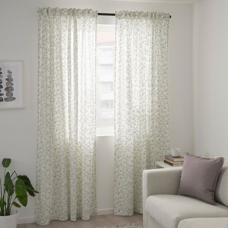 Brandnava Curtains 1 Pair White Gray 57x98 In 2020 Grey And White Curtains Curtains Ikea