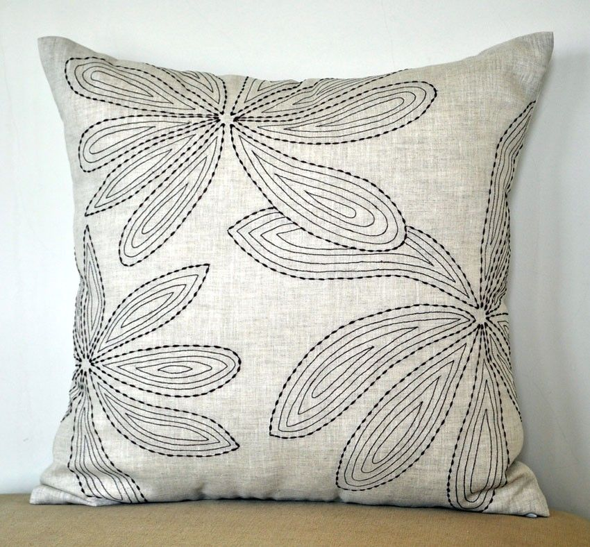 Floral Linen Pillow Cover, Leaves Throw Pillow, Embroidered Floral Pillow Case, Beige Linen Dark ...