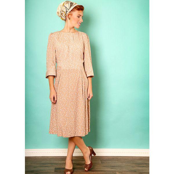 c77638dbd8d3 Tamar Landau Nude floral dress (1 065 ZAR) ❤ liked on Polyvore featuring  dresses, beige, floral print dress, sleeved formal dresses, floral print  midi ...