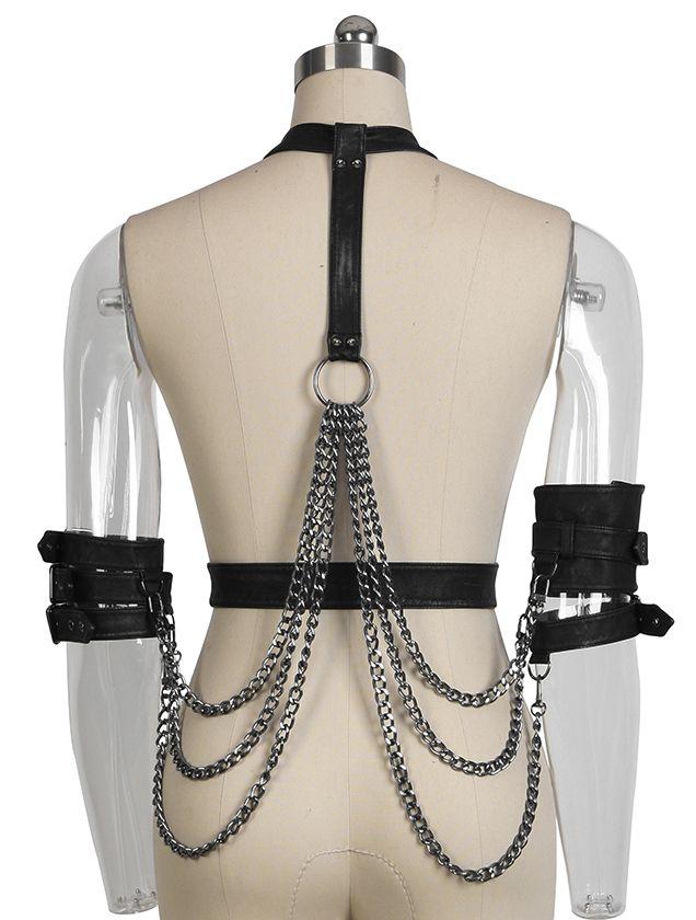 Riemenharnisch / -harness mit Ketten