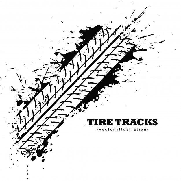 Tire Track Impression On White Background Free Vector Tire Tracks Inner Tubes White Background