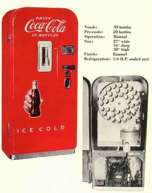 distributeur de boissons coca cola vendo v 39 ann es 50 publicit vintage au temps. Black Bedroom Furniture Sets. Home Design Ideas