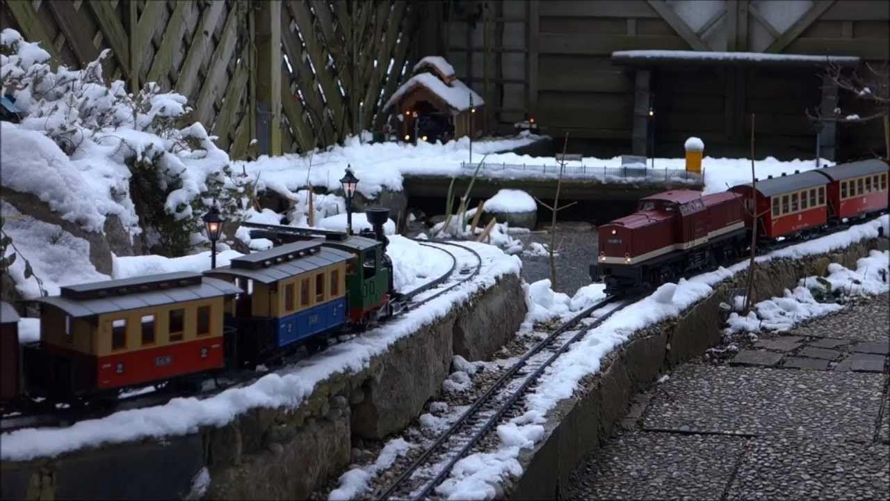 Winterlicher Gartenbahnspaß mit live steam FrankS, Regner Emma, Piko Har...