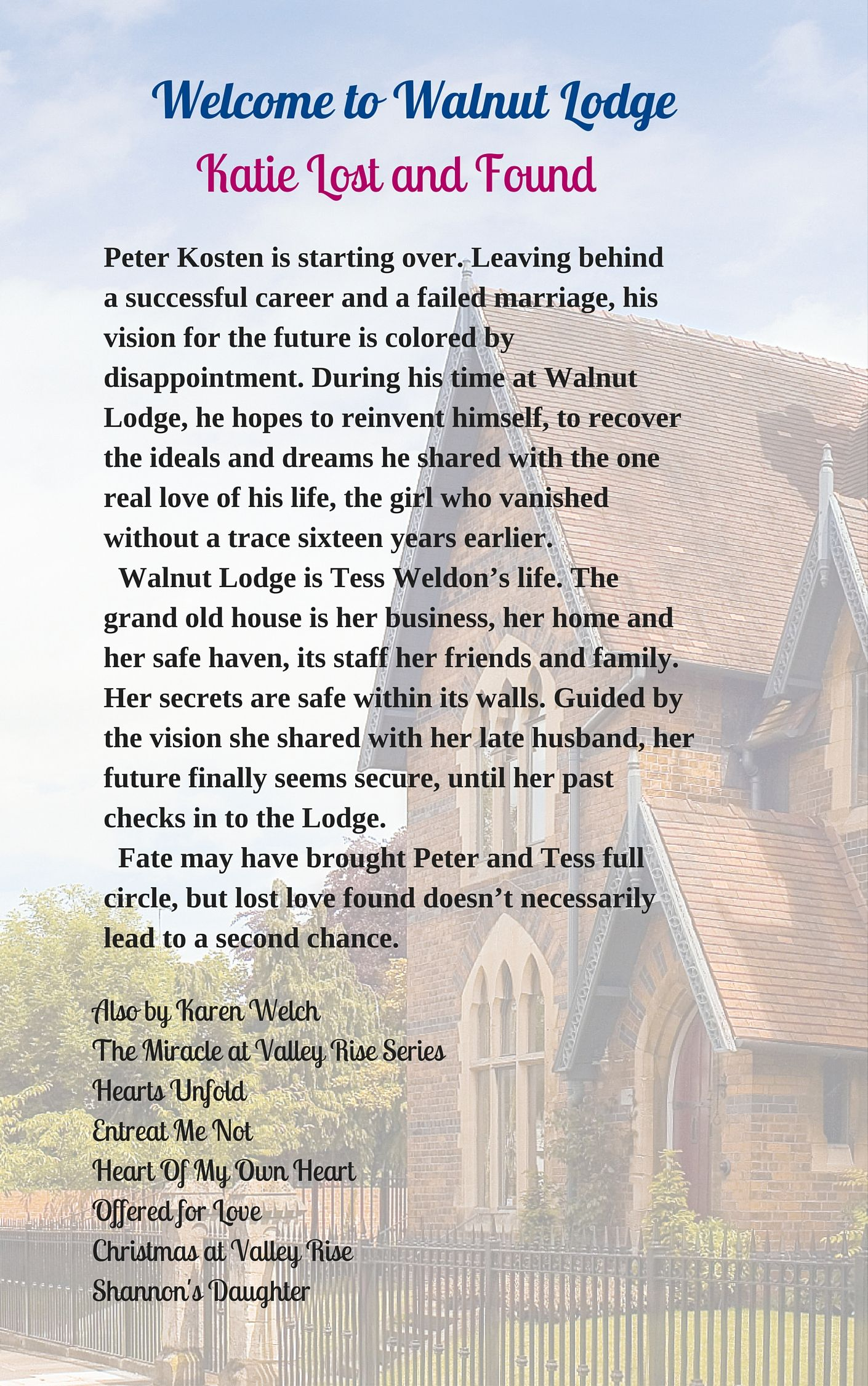 Back cover with an image of what might be Walnut Lodge.