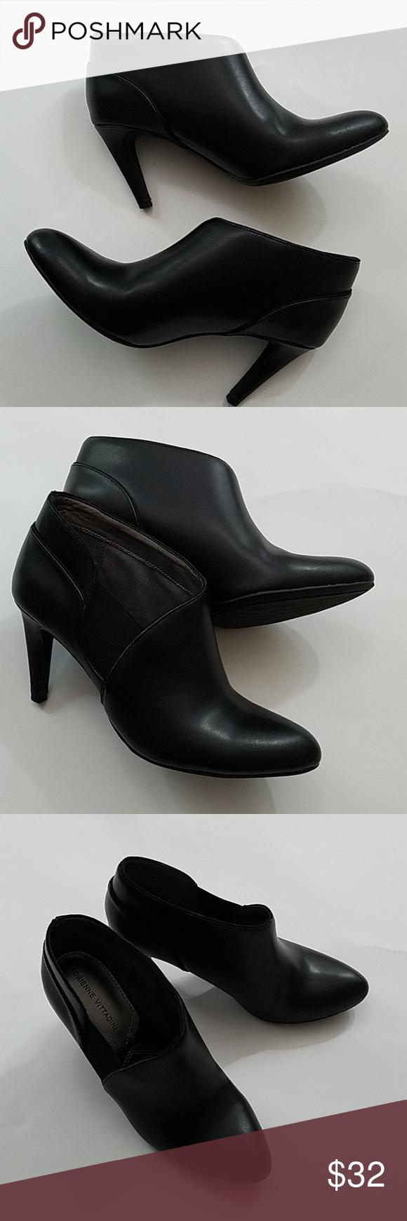 d092ce5dbb6 Booties Adrienne Vittadini AV- Tikki black leather 3in. Heel ankle ...