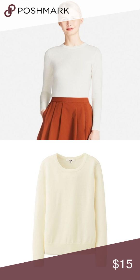 e15374be42 NWOT • Uniqlo • Cream Merino Crew Neck Sweater WOMEN EXTRA FINE MERINO CREW  NECK SWEATER Brand - Uniqlo New without tags - never worn. Size - Large  Length ...