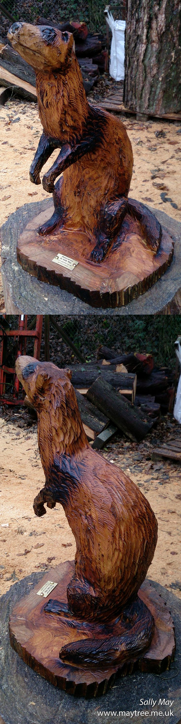 ferret chainsaw carving by sally may | kettensägenkunst, Gartengerate ideen